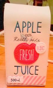 Accessorize apple juice carton  bag