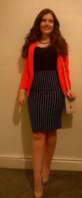 outfit of the week fashion blog red primark blazer, newlook body con striped skit