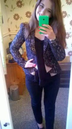 ootd metalic lace blazer