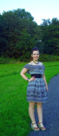 primark holiday dress outfit of the day off the shoulder fill elephant print